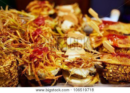 Burgos tapas food detail in Castilla Leon of Spain