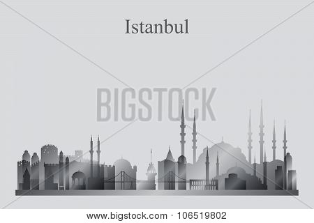 Istanbul City Skyline Silhouette In Grayscale