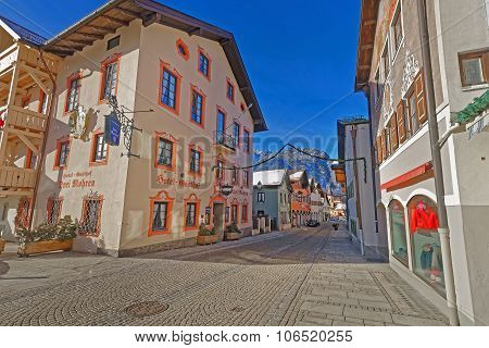 Charming Small Bavarian Town With Facade Paintings Of The Houses