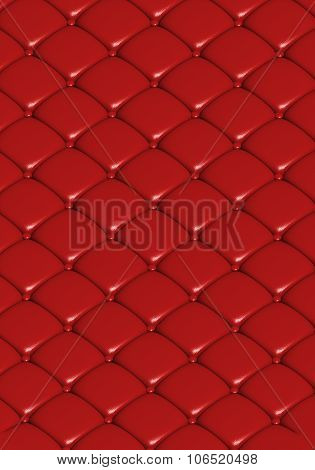 The Red Leather Texture Of The  Quilted Skin