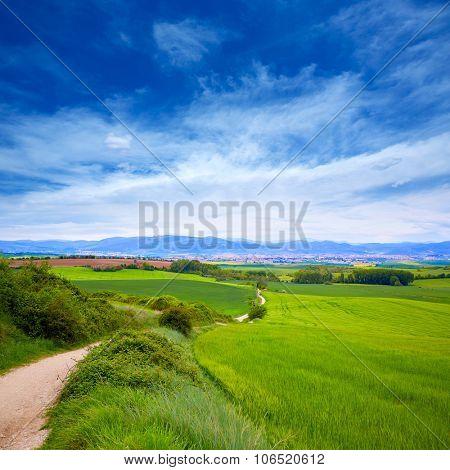 The way of Saint James track to Alto del Perdon top in Navarra Spain