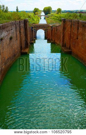 Canal de Castilla Channel by Saint James Way in Fromista Castilla Leon of Spain