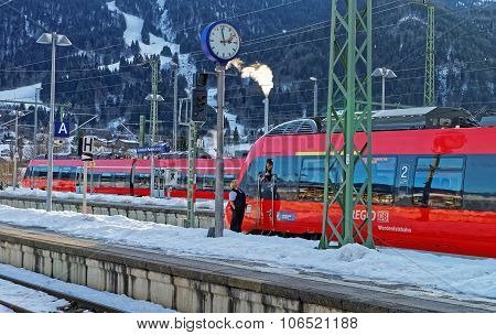Train Driver Awaits Departure At Garmisch-partenkirchen Train Station