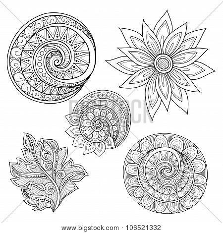 Vector Set Of Monochrome Contour Floral Doodles