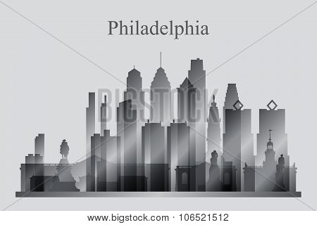 Philadelphia City Skyline Silhouette In Grayscale