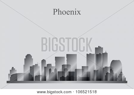Phoenix City Skyline Silhouette In Grayscale
