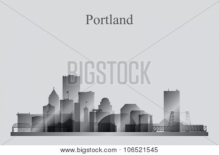 Portland City Skyline Silhouette In Grayscale