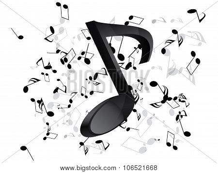 Music background with notes. Abstract vector illustration with background.