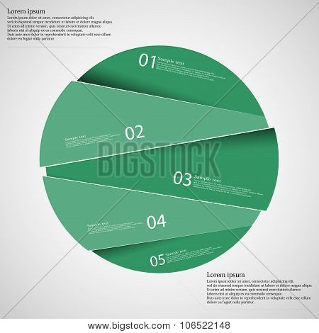 Circle Infographic Template Divided To Five Green Parts