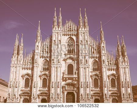 Retro Looking Milan Cathedral