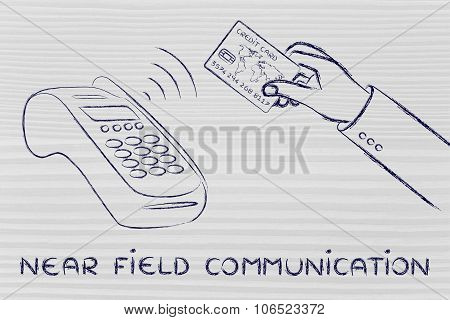 Person Paying At Pos Terminal, With Text Near Field Communication