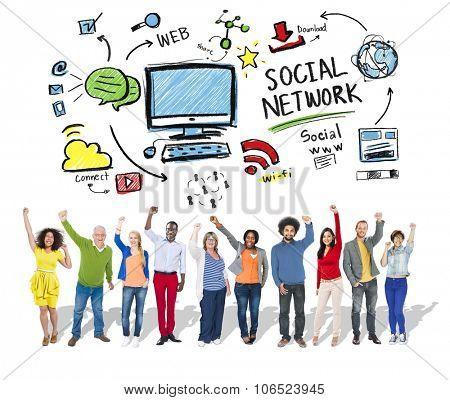 Social Network Social Media Diversity People Celebration Concept