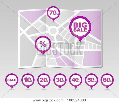 Discount Sale Pin Map Icon. Map Pointer, Markers.