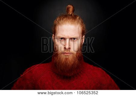 Perfect Beard. Close-up Portrait Of Young Brutal And Serious Bearded Man Standing Against Black Back