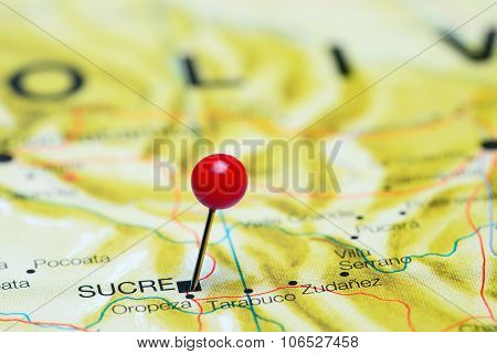 Sucre pinned on a map of America