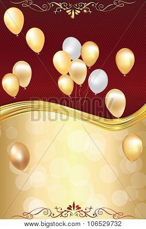 Bi-color celebration background with balloons