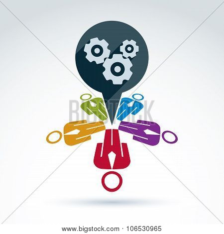 Vector Colorful Illustration Of Gears, Business Strategy Concept. Cog-wheels And People, Components
