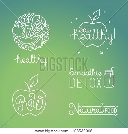 Vector Healthy Food And Organic Fruits Concepts