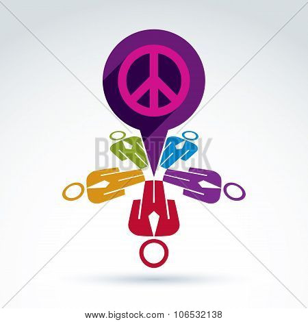 Illustration Of A Chat Between Group Of People, Hippy Community. Harmony And Freedom Conceptual Icon