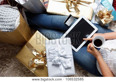 Woman Shopping Online With A Credit Card