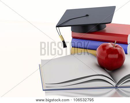 3D Graduation Cap And Books