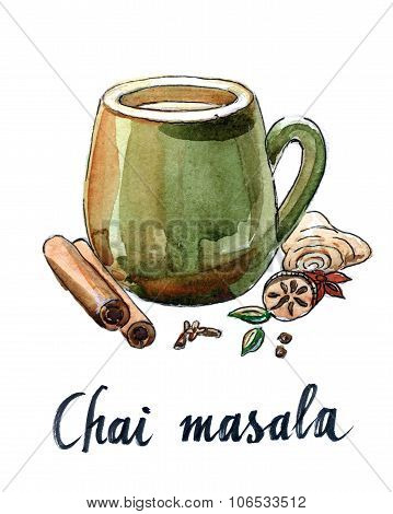 Masala Chai And Ingredients