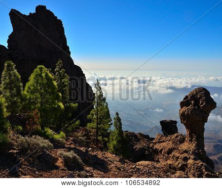 Rocky landscape from summit of Gran canaria island
