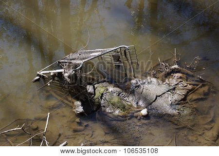 Abandoned Shopping Trolley In Muddy Water