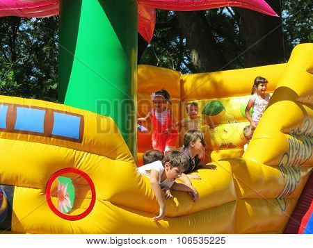 ODESSA - MAY 30, 2015: Children have fun on the inflatable playground, May 30, 2015 in Odessa, Ukrai