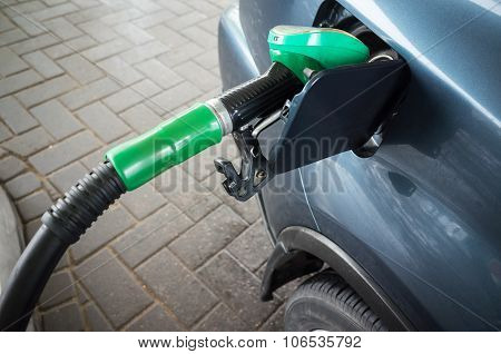 Filling With Petrol. Automatic Gas Station