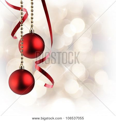 Christmas White Background With Red Balls And Ribbon Hanging Square