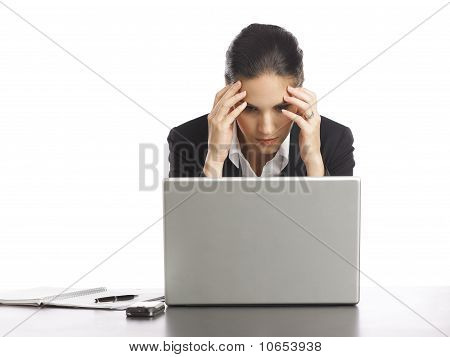 Young Businesswoman Depressed Looking At Laptop 3