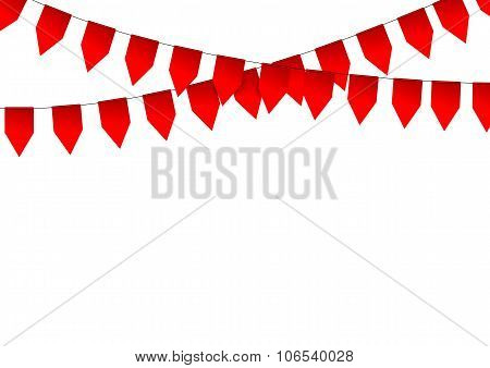 Red paper flags on white background