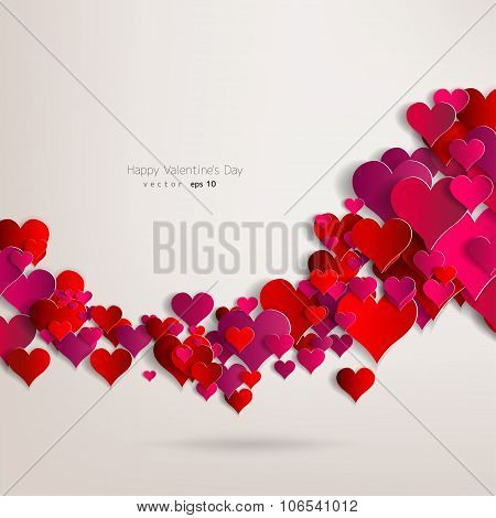 Valentines day. Abstract paper hearts. Love. Abstract vector illustration with background.