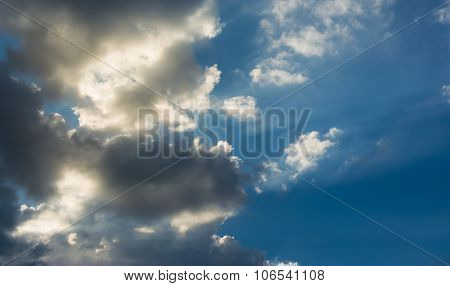 Blue Sky And White Clouds On Day Time For Background Usage.