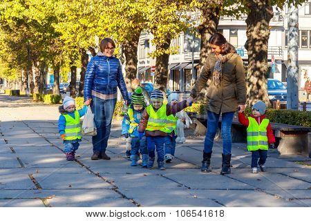 Riga. Young children for a walk.