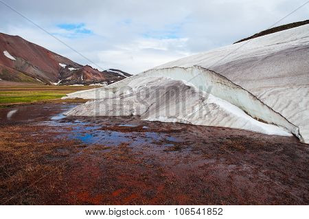 Melting glaciers in national park Landmannalaugar, Iceland