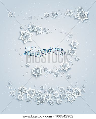Snowy winter elements. Holiday design for card, banner, invitation, leaflet and so on.