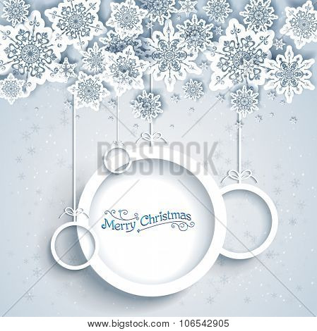Snowy holiday frame. Christmas design for card, banner, invitation, leaflet and so on.