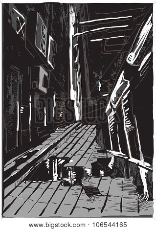 Night Street, Freehand Vector Illustration