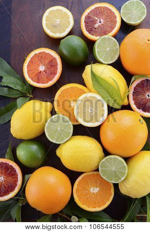 Orange, Lemon And Lime Citrus Fruit
