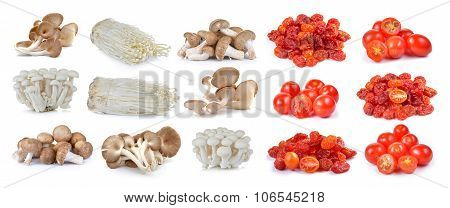 Red Cherry Tomatoes , Dried Tomato And Shiitake Mushroom , Enoki Mushroom, White Beech Mushrooms, Oy