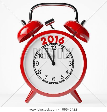 New year 2016 as concept on a red vintage alarm clock (3D Rendering)