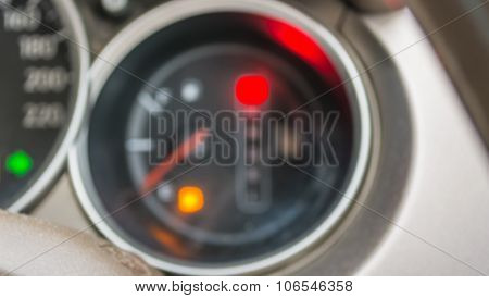 Blur Image Of Empty Fuel Warning Sign .
