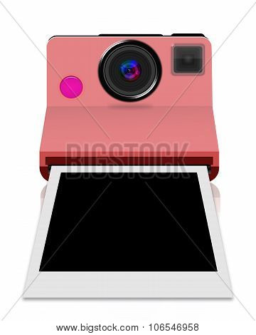 Instant camera with a blank photo