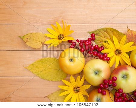 Apples, Topinambur Flowers, Red Viburnum Berries And Yellow Leaves