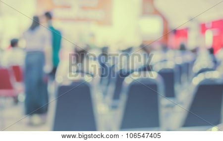 Image Of Blur People Looking To Kid 's Show On Stage At School : Vintage Tone