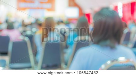 Image Of Blur People Looking To Kid 's Show On Stage At School