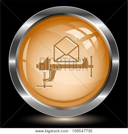 open mail with clamp. Internet button. Raster illustration.