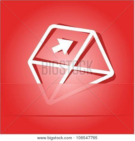 mail right arrow. Paper sticker. Raster illustration.